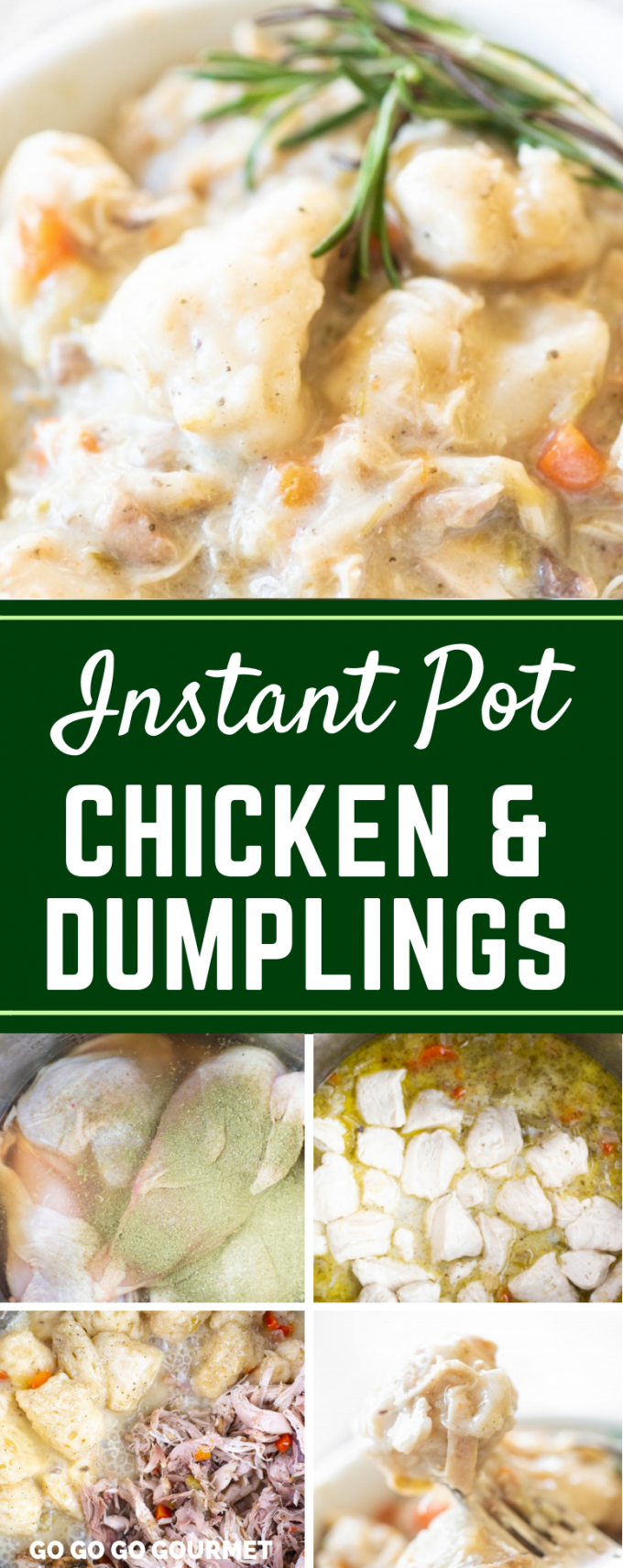 This Instant Pot Chicken and Dumplings recipe is made easy with biscuits from the can! It is one of the best easy recipes when you are  craving comfort food. Forget the Bisquick biscuits, these Pillsbury biscuits are even better! Dinner from scratch, made in the electric pressure cooker for the win! #gogogogourmet #instantpotchickenanddumplings #easyinstantpotrecipes #comfortfoodrecipes via @gogogogourmet