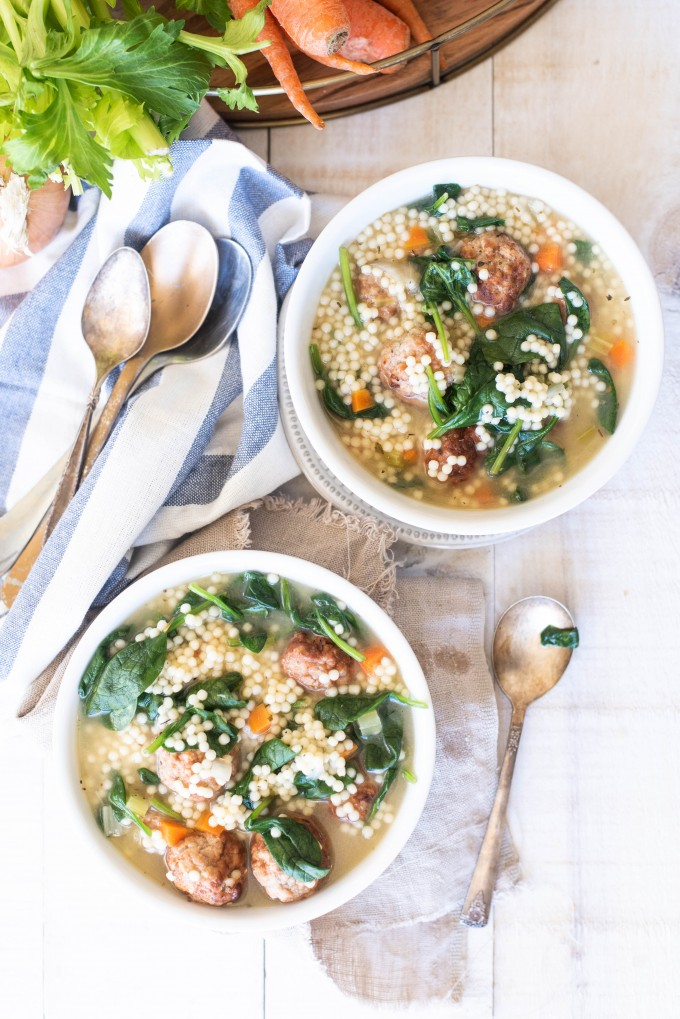 Overhead view of two bowls of instant pot italian wedding soup