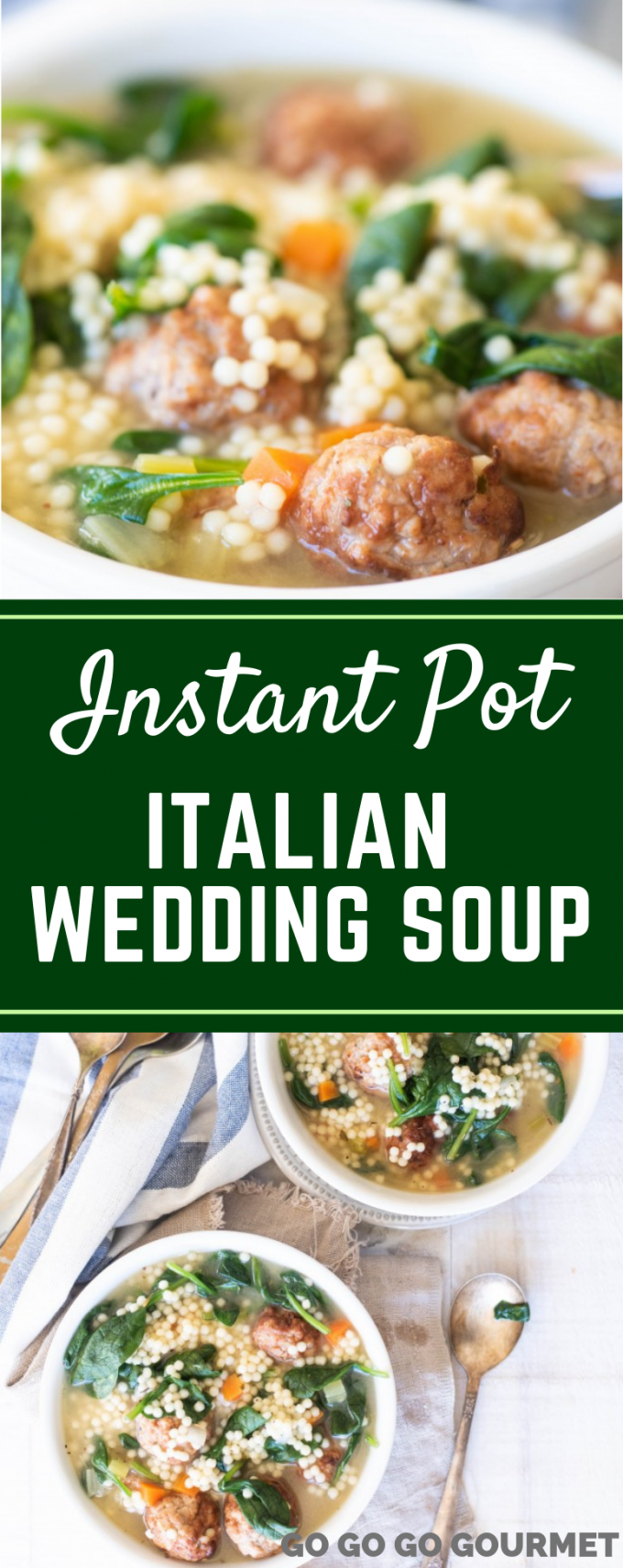 This Instant Pot Italian Wedding Soup is one of the best soup recipes! Made super easy with frozen meatballs, it's a great way to get dinner on the table fast! #gogogogourmet #instantpotitalianweddingsoup #instantpotsouprecipes #easyinstantpotrecipes