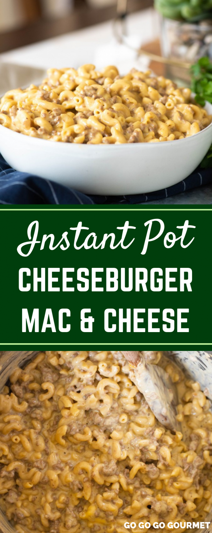 This easy Instant Pot Cheeseburger Mac and Cheese is a homemade version of your favorite boxed meal. Made with a mixture of Velveeta and cheddar cheese, this casserole is sure to become one of your family's new favorite dinners! #gogogogourmet #instantpotcheeseburgermac #cheeseburgermacandcheese #copycatrecipes #easydinnerrecipes #easyinstantpotrecipes