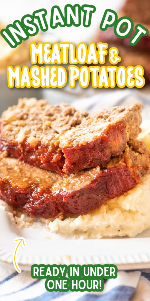 This easy Instant Pot Meatloaf and Mashed Potatoes recipe is the best! It's an easy way to make an entire comfort food meal in under an hour! After you've tried it, this will be the only meatloaf recipe you'll ever use! Pressure cooking has never been so easy! #gogogogourmet #instantpotmeatloaf #meatloafandmashedpotatoes #easyinstantpotrecipes #comfortfoodrecipes via @gogogogourmet