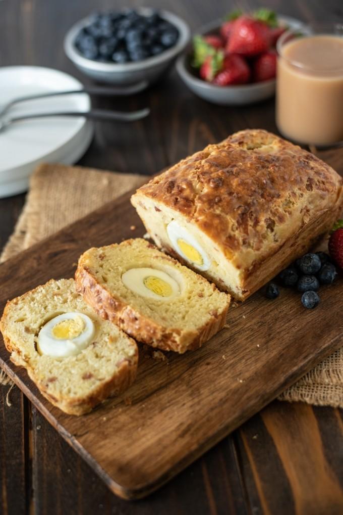 breakfast bread sliced on a cutting board