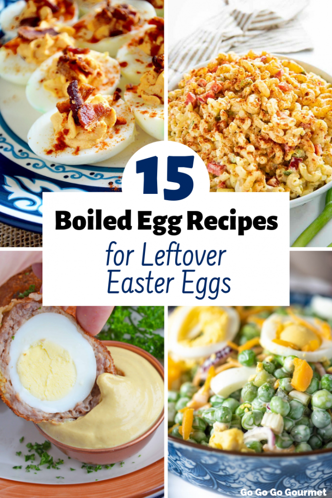 These Boiled Egg Recipes are the perfect way to use up your leftover hardboiled eggs! With plenty of ideas for breakfast, lunches or dinner, these easy recipes are the best. They include everything from deviled eggs to macaroni salad, and everything in between! #gogogogourmet #boiledeggrecipes #leftovereastereggideas #hardboiledeggrecipes via @gogogogourmet