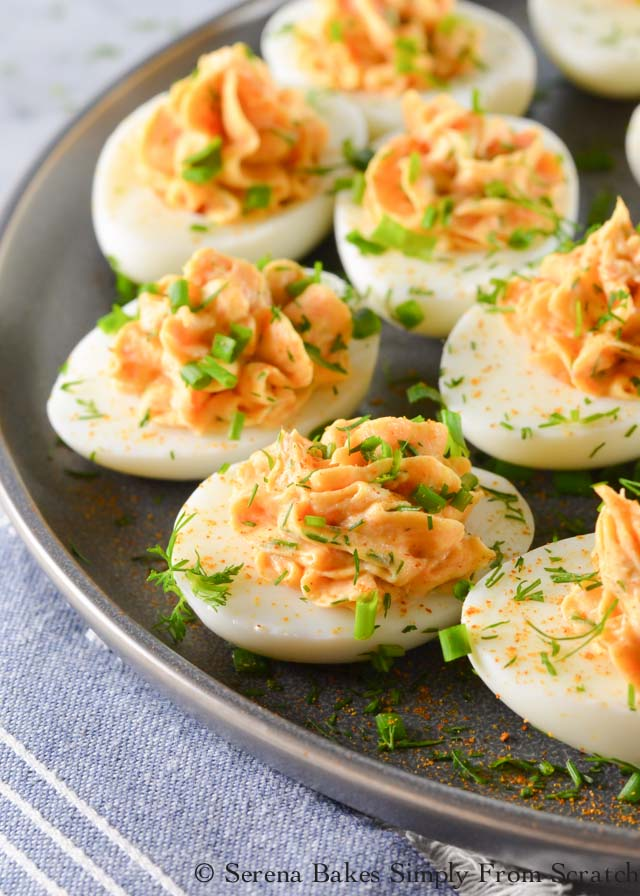 Boiled egg recipes - smoked salmon deviled eggs topped with dill