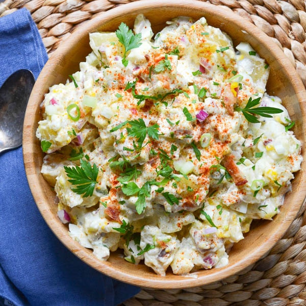 potato salad in a wooden bowl