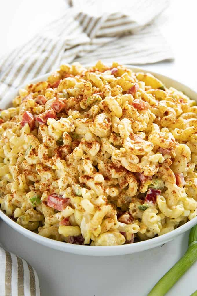 Boiled egg recipes - macaroni salad in a white bowl