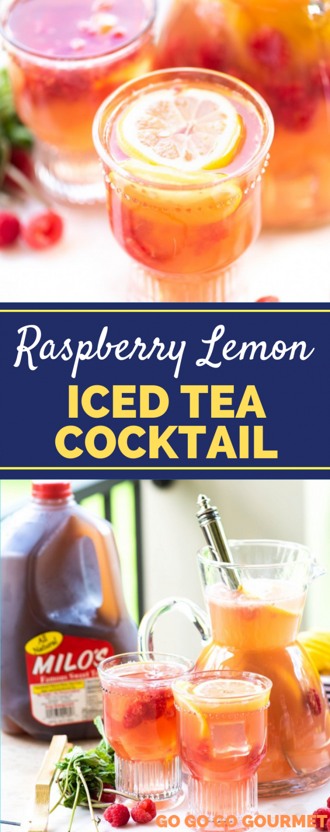 This homemade Raspberry Lemon Iced Tea Cocktail is sure to become one of your favorite summer drinks! Made with my favorite iced tea, @DrinkMilos, it's exactly what you've been searching for. You can use Milo's sweet or unsweetened tea based off of personal preference! #ad#gogogogourmet #milosmoments #raspberrylemonicedteacocktail #summercocktails #summerdrinkideas #ad via @gogogogourmet