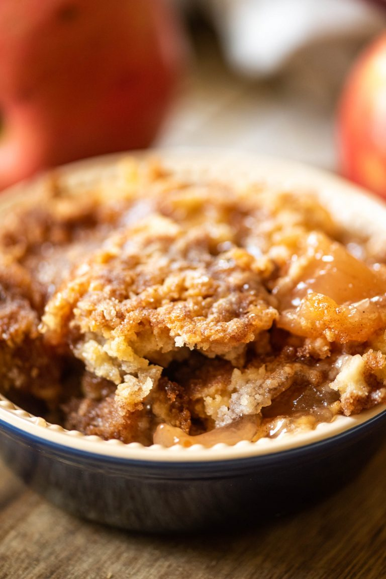 Apple dump cake in a bowl
