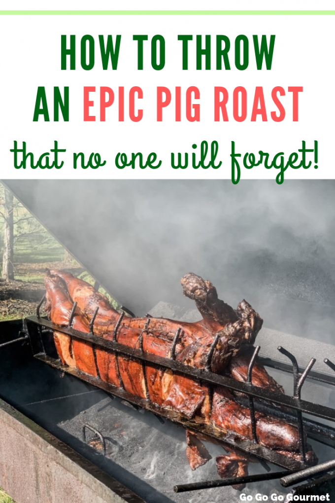 If you've ever wanted to roast a pig at home, check out all of my tips and tricks for How to Throw an Epic Pig Roast party that no one will forget! I share my entire menu, including side dishes and even decorations! #gogogogourmet #pigroast #bestpigroastrecipes #pigroastdecorations #pigroastrecipes via @gogogogourmet