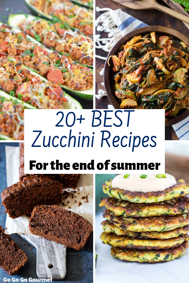 Zucchini is a great way to make healthy swaps, and these 20+ BEST Zucchini recipes are the best way to do that! From bread to dinner and even dessert, these easy recipes are the perfect way to use up your summer crop! #gogogogourmet #zucchinirecipes #zucchini #zucchinibread  via @gogogogourmet