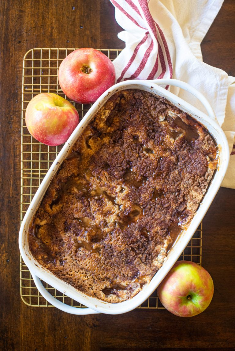 Overhead view of apple dump cake