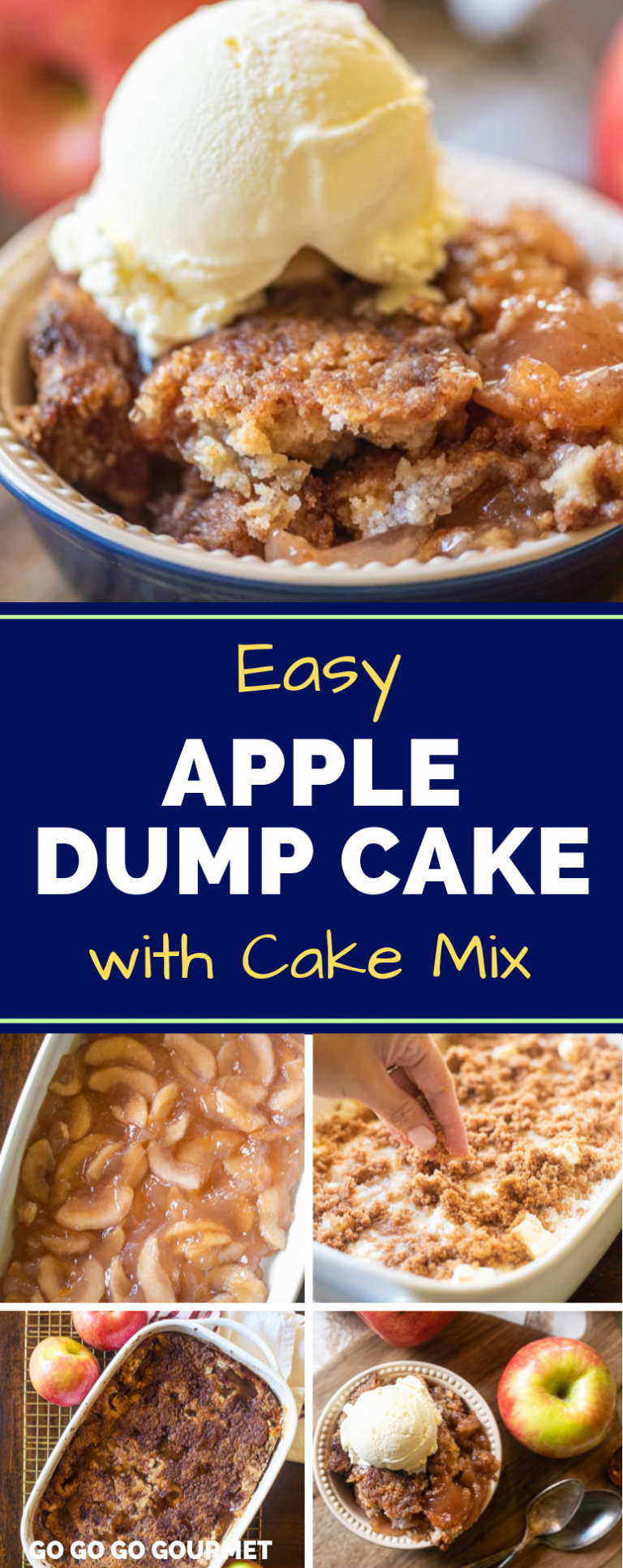 This easy, 3 ingredient Apple Dump cake will easily be one of your favorite fall desserts! It's made easy with pie filling and a box cake mix, which means less work for you! With lot's of cinnamon flavor, you are going to fall in love! #gogogogourmet #appledumpcake #dumpcakerecipes #falldesserts #easycakerecipes via @gogogogourmet