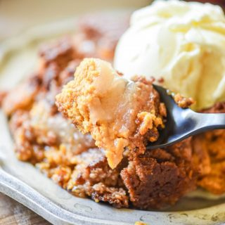 Apple Pumpkin Dump Cake on a fork