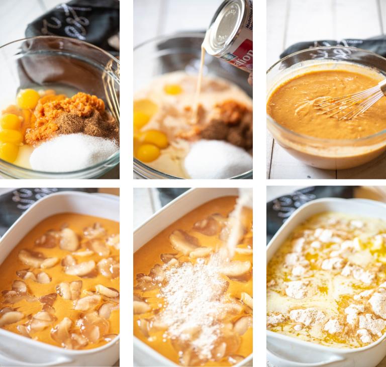 Collage of Apple Pumpkin Dump Cake making process