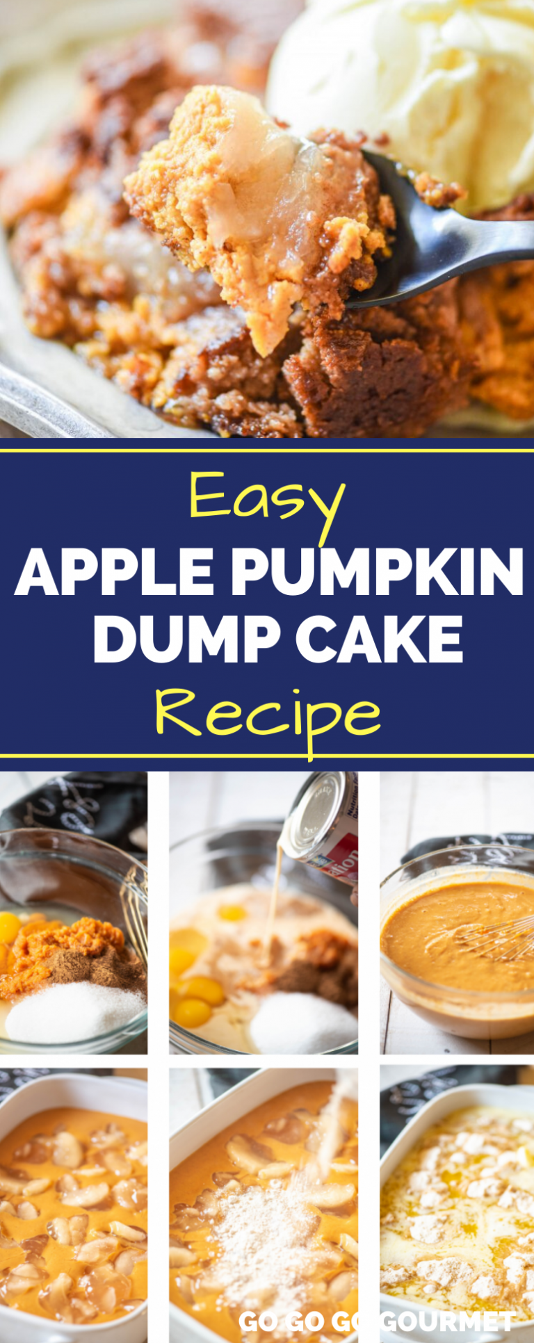 This easy Apple Pumpkin Dump Cake recipe is just what you need this fall! It's an easy dessert with only a few ingredients and 10 minutes of work! It might even be better than the Pioneer Woman recipe! #gogogogourmet #applepumpkindumpcake #dumpcakerecipes #pumpkinrecipes #falldesserts via @gogogogourmet