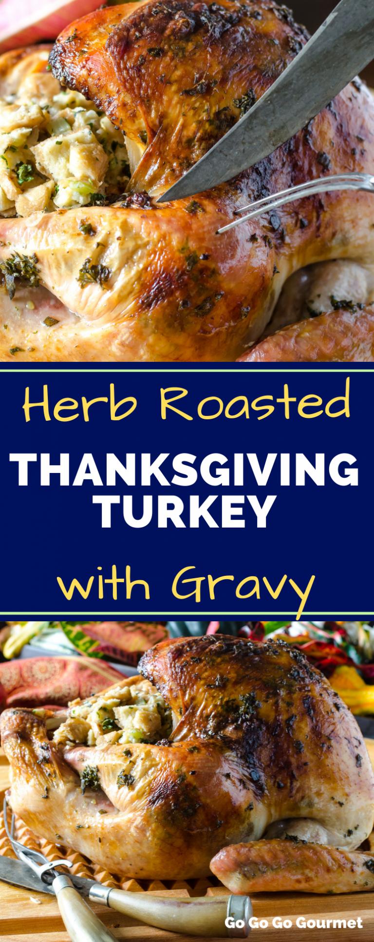 Move over Ina Garten, this easy Herb Roasted Turkey recipe is the best of the Thanksgiving turkey recipes! Made with fresh herbs and a brine, this turkey is moist, juicy and super flavorful! #gogogogourmet #herbroastedturkey #thanksgivingturkey #easyturkeyrecipe via @gogogogourmet