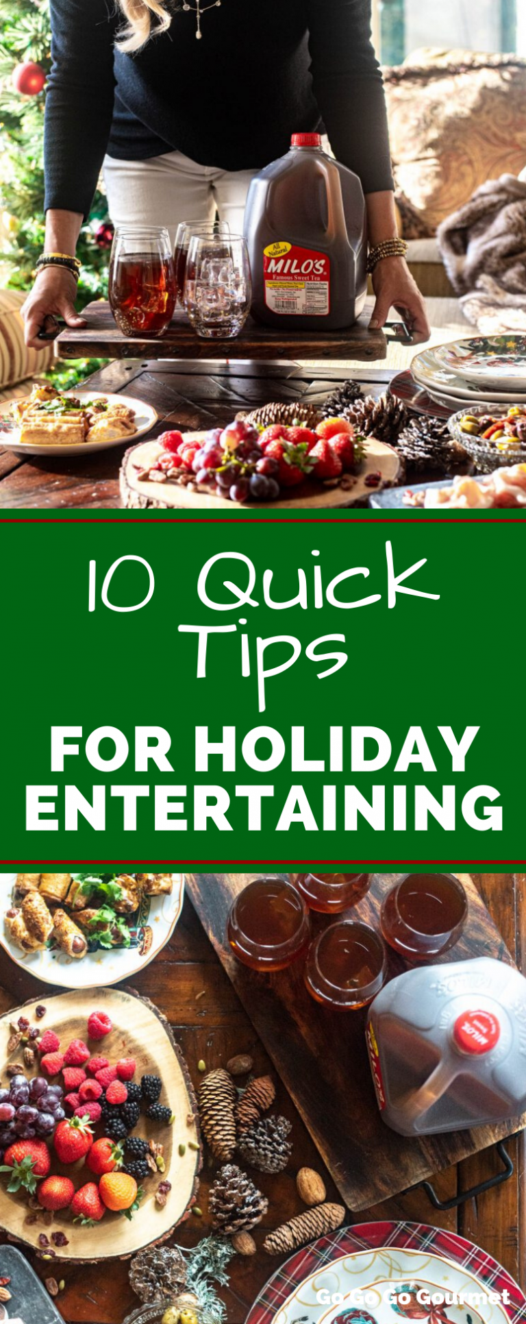 It's time to get rid of stress when planning holiday parties! Check out all my tips for planning an easy Christmas party without a ton of work. Disposable plates, easy appetizers and a jug of Milo's Famous Tea are just a few ways I plan a great party with less stress! #ad #milosmoments #gogogogourmet #holidayentertaining #christmasparty #partyguide via @gogogogourmet