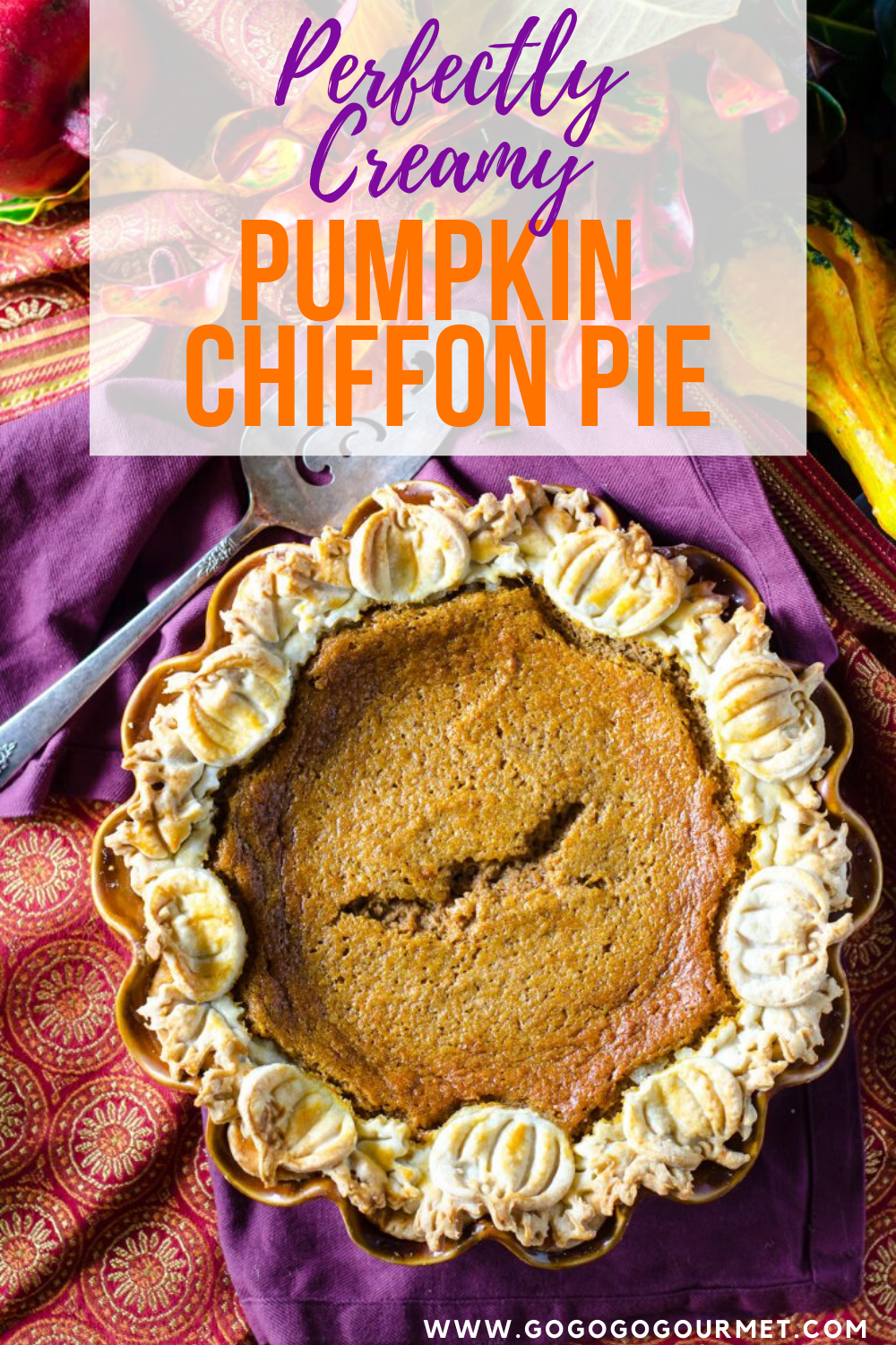 Move over Paula Deen, this easy Pumpkin Chiffon Pie is the best! There is no gelatin required, and it's perfectly creamy and delicious! Your Thanksgiving dessert table won't be the same without this perfect pie with a decorative crust. #gogogogourmet #pumpkinchiffonpie #pumpkinpie #thanksgivingdesserts via @gogogogourmet