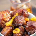 Pork belly burnt ends in a white bowl