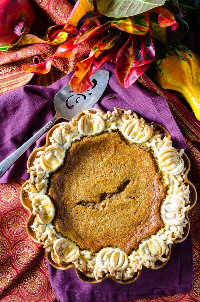 Overhead view of pumpkin chiffon pie