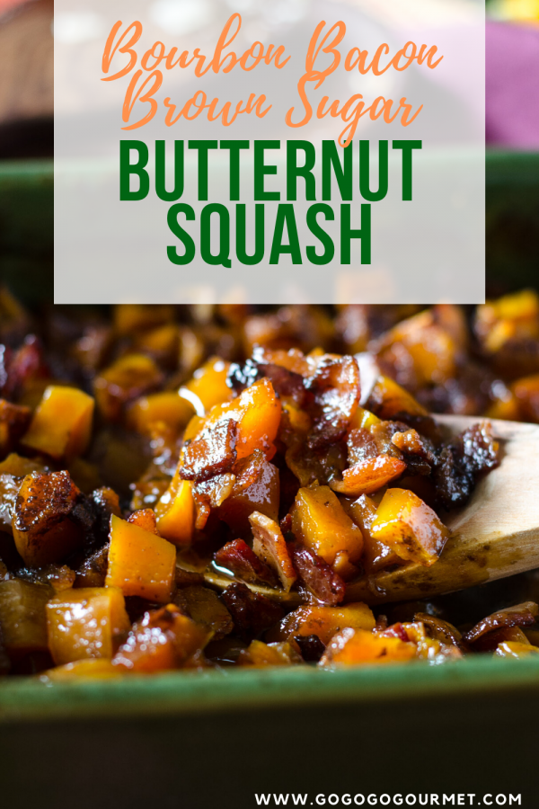 Pinterest image for bourbon bacon brown sugar butternut squash