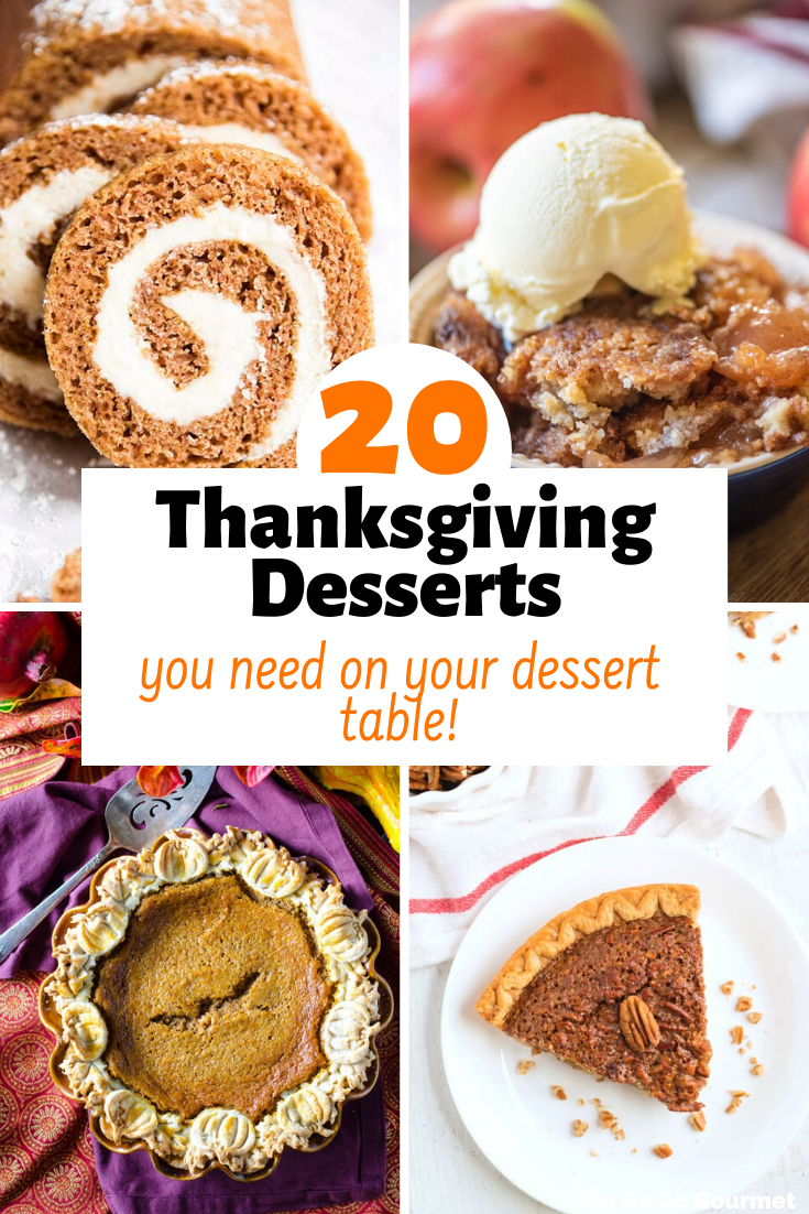 These Thanksgiving recipes include it all! From cute recipes that the kids can help with, to easy pie, cheesecake, bars and cake recipes, you are sure to find something you'll love! #gogogogourmet #thanksgivingrecipes #thanksgivingdesserts #pumpkinpie #pecanpie via @gogogogourmet