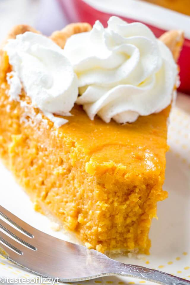Close up of a slice of sweet potato pie