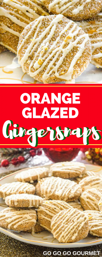 Collage of orange glazed gingersnaps for Pinterest