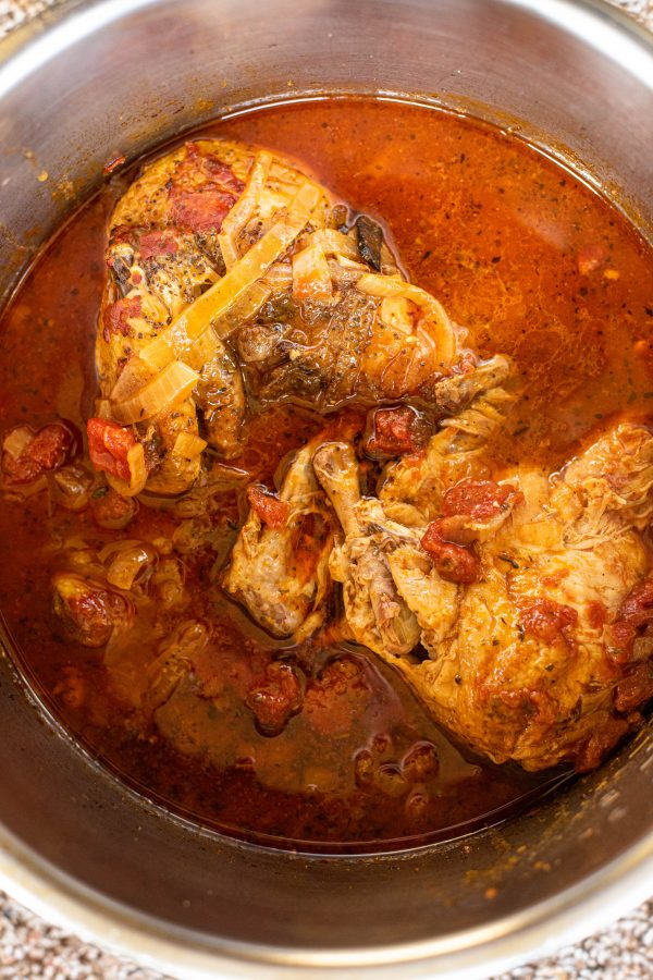 Overhead view of chicken cacciatore in the Instant Pot
