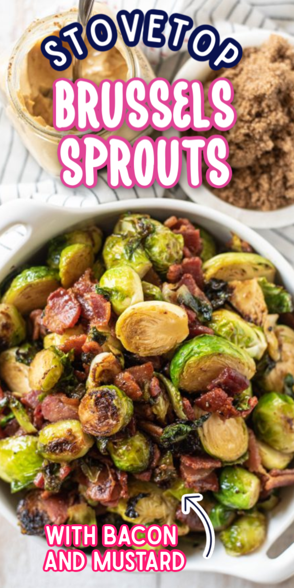 There are many ways to cook Brussels sprouts, but this Stovetop Brussels Sprouts with Bacon and Mustard Recipe is my personal favorite! With simple ingredients like brown sugar and mustard, you will have a flavorful side dish in no time! #gogogogourmet #brusselssprouts #stovetopbrusselssprouts #easysidedishes via @gogogogourmet